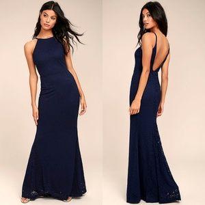 Lulu's Ephemeral Allure Lace Maxi Navy Blue Dress